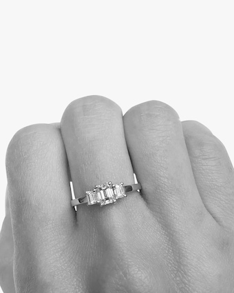 Bridal Emerald-Cut Trio Ring