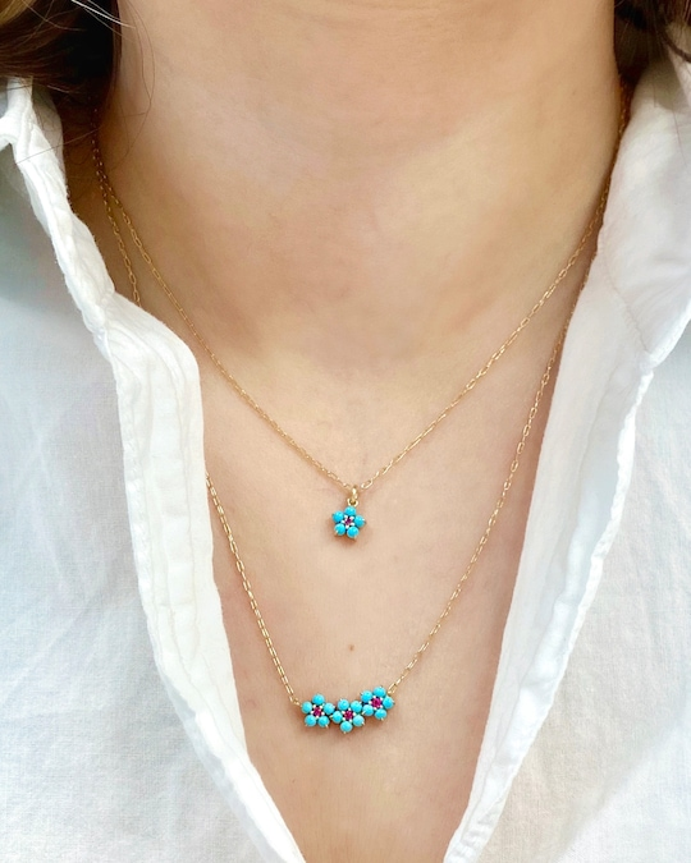 Jane Taylor Petite Floral Trio Necklace 1
