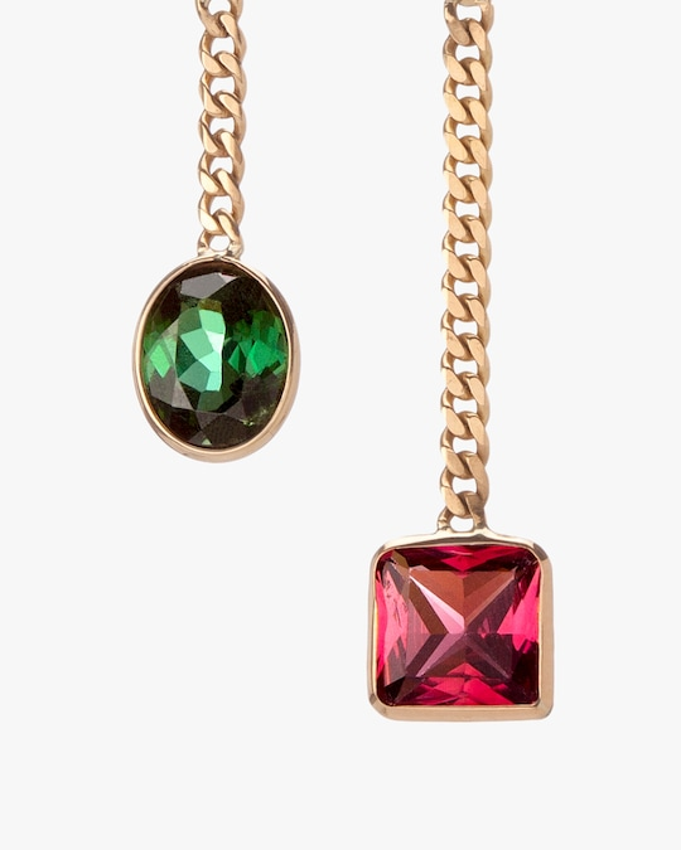 objet-a Tourmaline Asymmetrical Curb Chain Drop Earrings 1