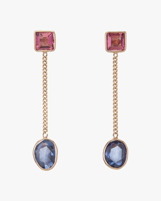 objet-a Tourmaline & Sapphire Slice Drop Earrings 0
