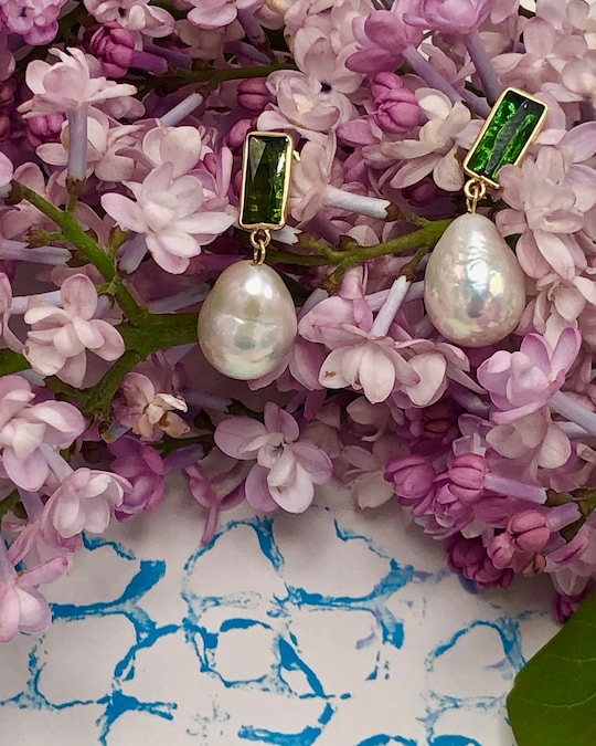 objet-a Tourmaline & Baroque Pearl Disco Earrings 1