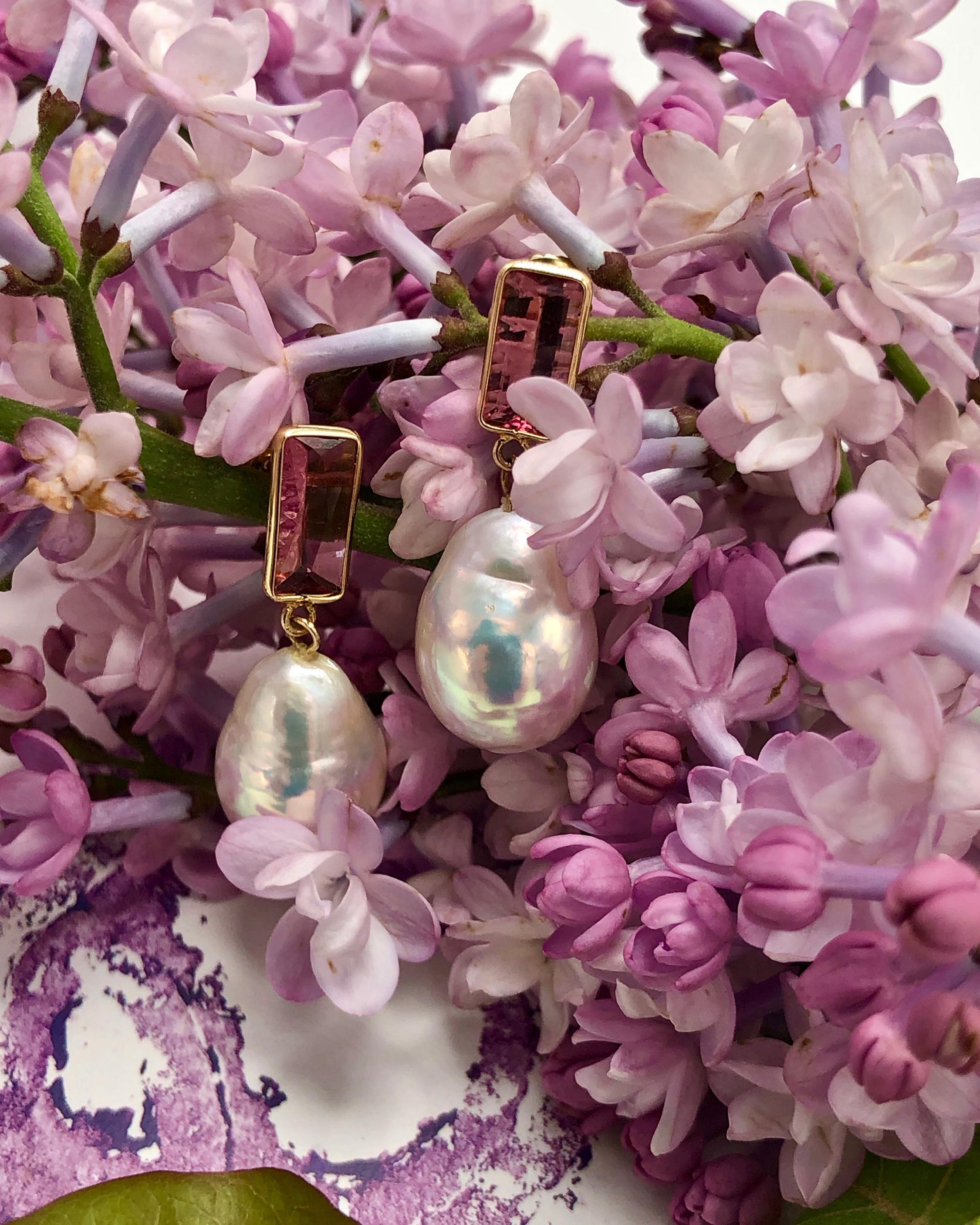 objet-a Tourmaline & Baroque Pearl Disco Earrings 1
