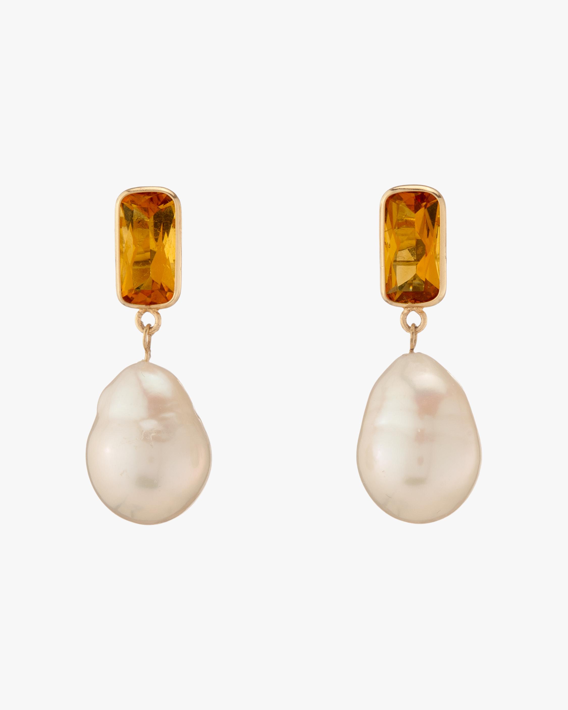 Citrine & Baroque Pearl Disco Earrings