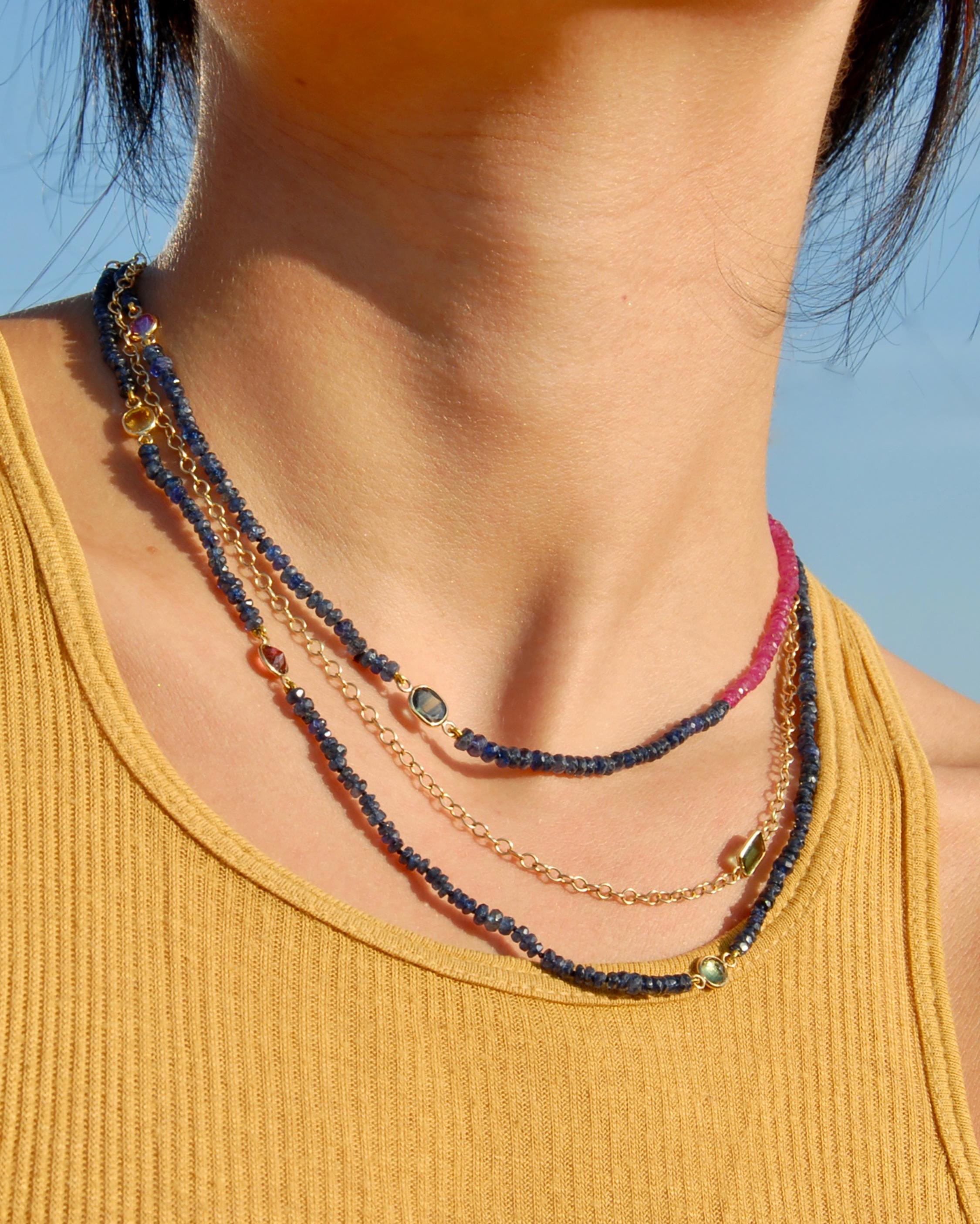 objet-a Sapphire & Tourmaline Cable Chain Necklace 1