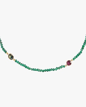 Emerald & Ruby Beaded Necklace