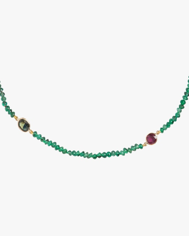 objet-a Emerald & Ruby Beaded Necklace 1