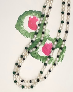 Cultured Pearl & Emerald Beaded Necklace