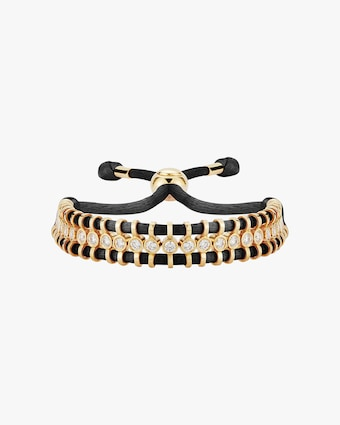 Cord Slider Black Diamond Bracelet