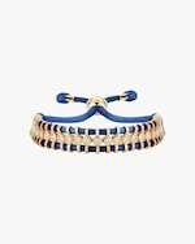 Jemma Wynne Cord Slider Blue Diamond Bracelet 0