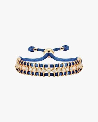 Jemma Wynne Cord Slider Blue Diamond Bracelet 1
