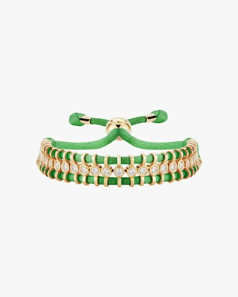 Jemma Wynne Cord Slider Green Diamond Bracelet 1