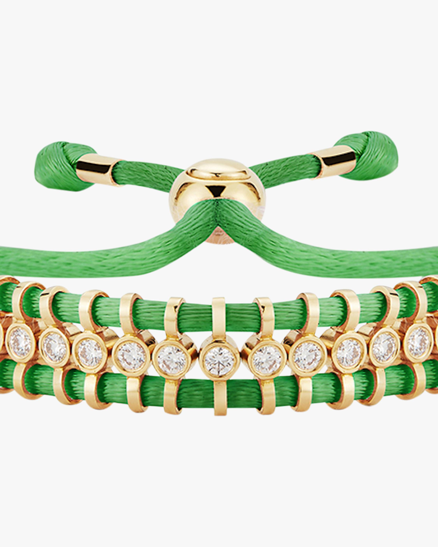 Jemma Wynne Cord Slider Green Diamond Bracelet 1