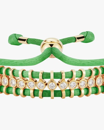 Jemma Wynne Cord Slider Green Diamond Bracelet 2