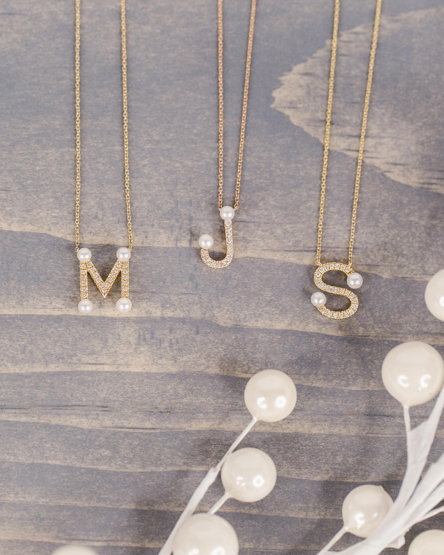 Dana Rebecca Designs Pearl Ivy Initial Pendant Necklace 2