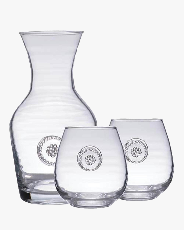 Juliska Berry & Thread Carafe & Red Wine Glass Set 2