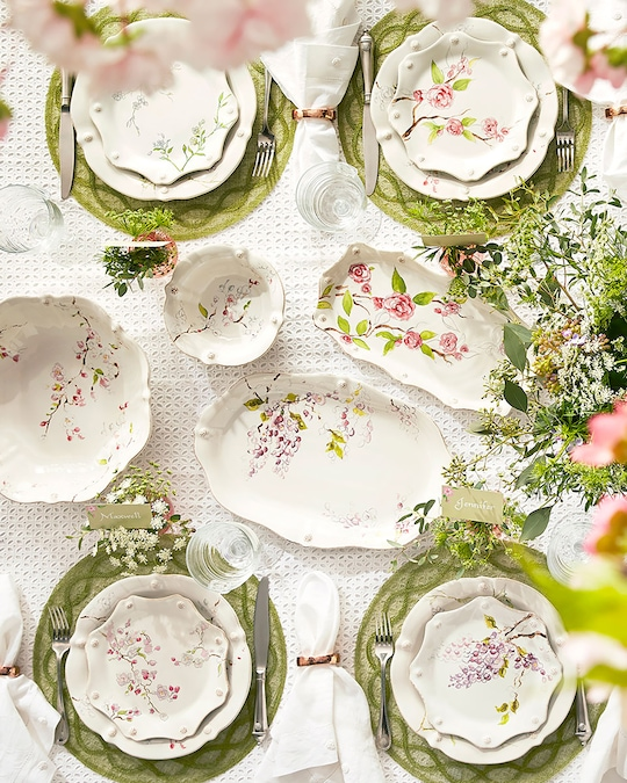 Juliska Berry & Thread Floral Sketch Cherry Blossom Dinner Plate 1