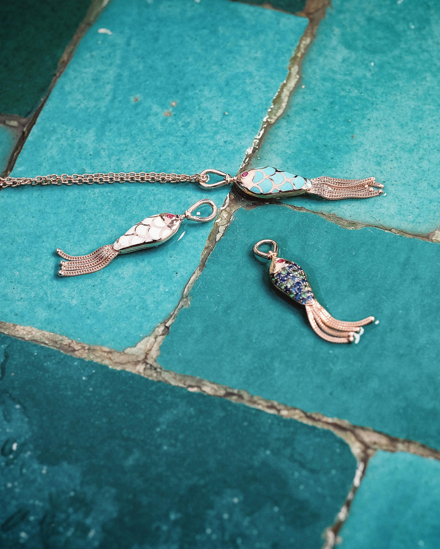 Enamel and Ruby Fish Pendant