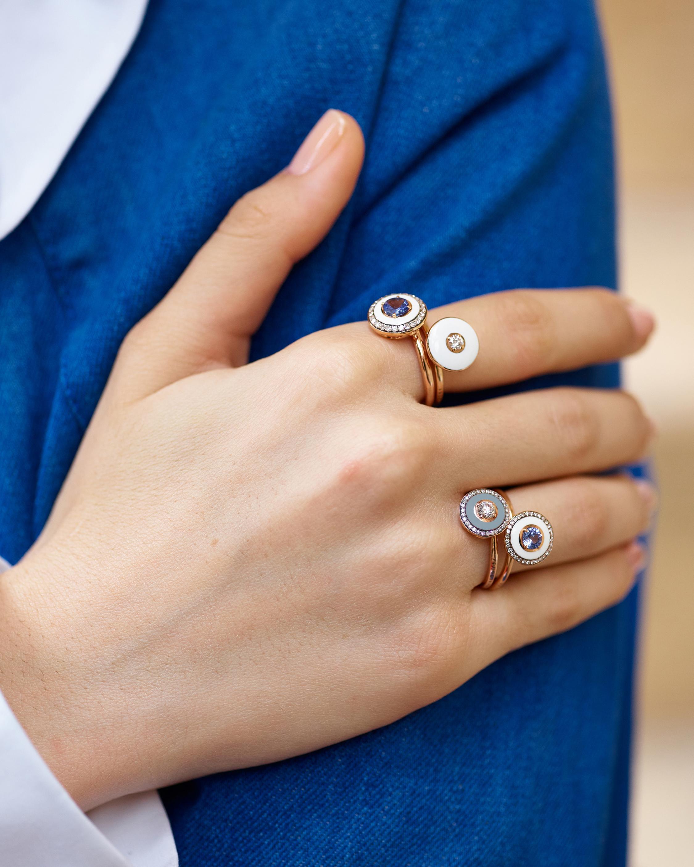 Selim Mouzannar Enamel, Diamonds & Pearl Ring 1
