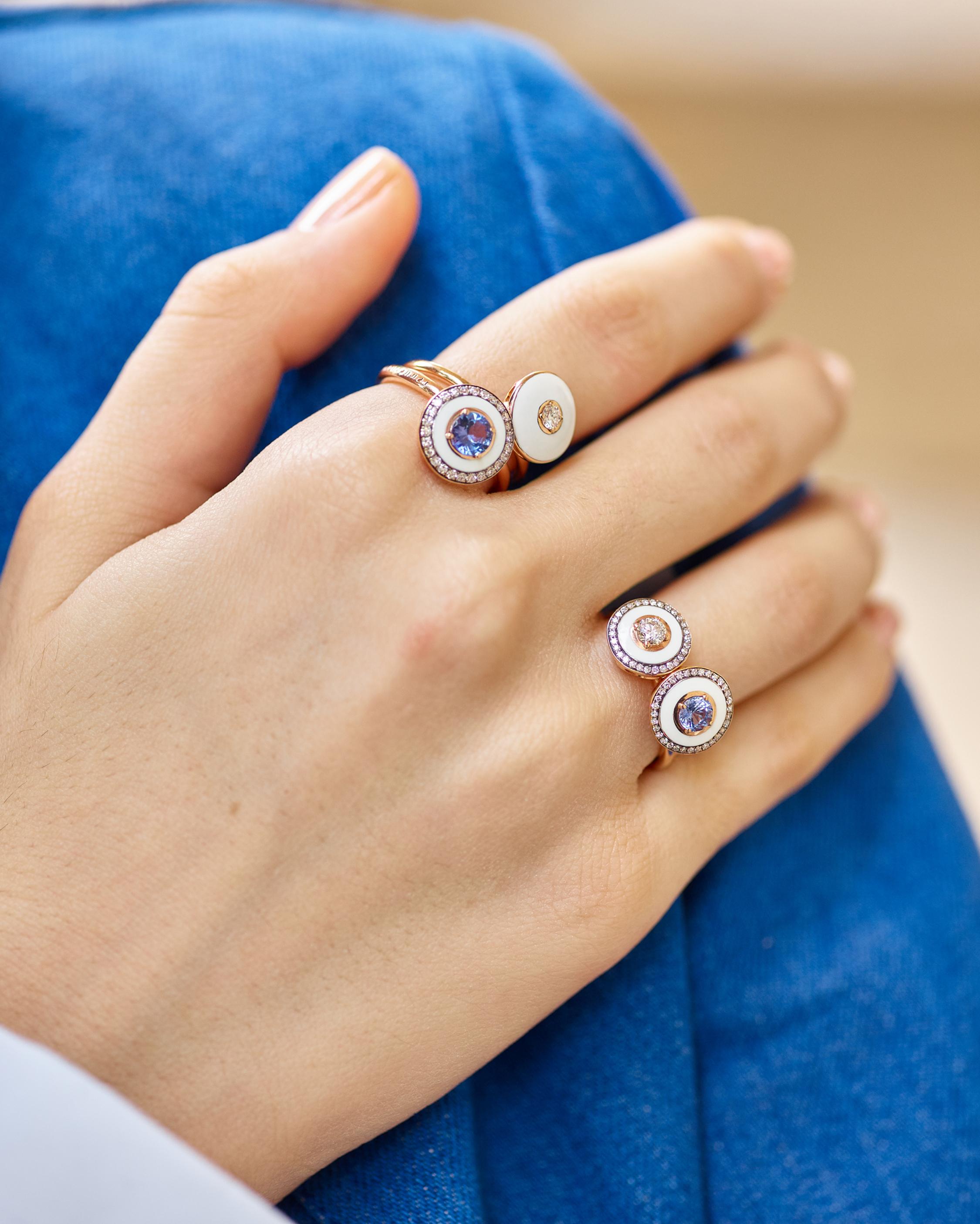 Selim Mouzannar Enamel, Diamond & Sapphire Ring 2