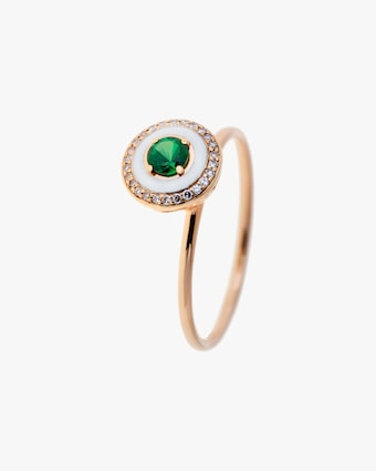 Enamel, Diamond & Tsavorite Ring