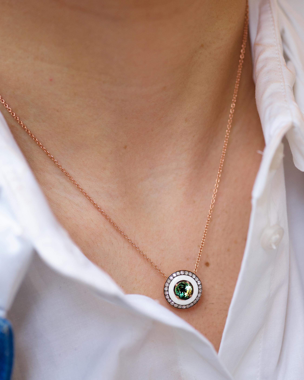 Selim Mouzannar Enamel, Diamond & Tsavorite Pendant Necklace 2