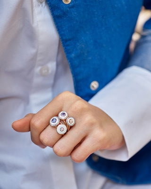 Selim Mouzannar Enamel & Diamond Ring 2