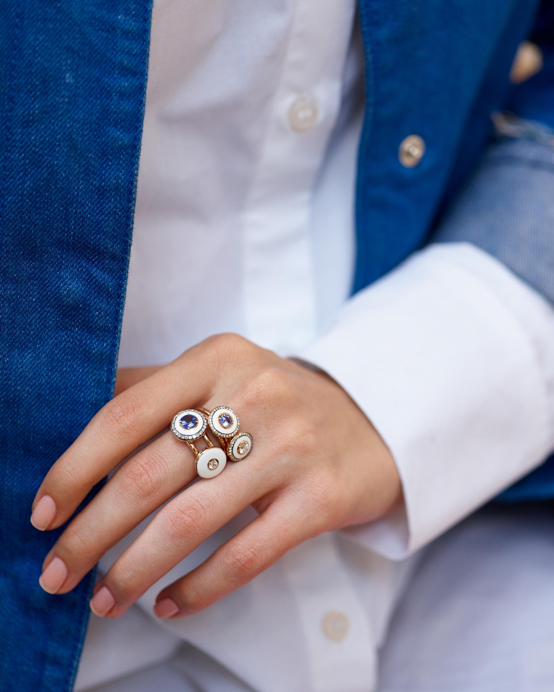 Selim Mouzannar Enamel & Sapphire Ring 1