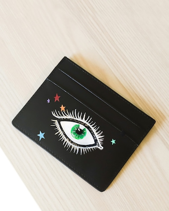 Alepel Eyes & Stars Vegan Leather Card Holder 2