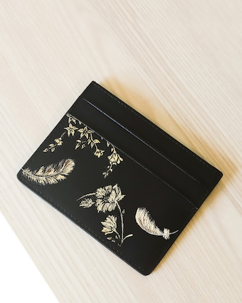 Feathers Vegan Leather Card Holder