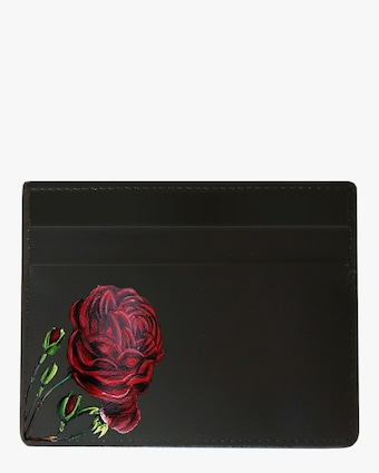 Rose Vegan Leather Card Holder