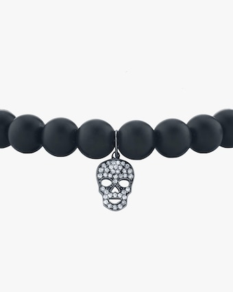 Men's Pavé Skull Beaded Bracelet