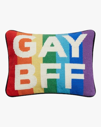 Gay BFF Needlepoint Pillow