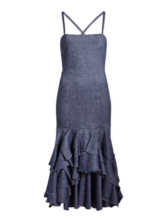 Stretch Denim Apron Ruffle Dress