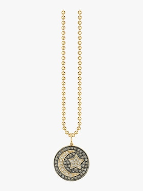 Large Moon and Star Medallion Charm Necklace