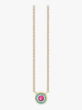 Single Stone Enamel Necklace