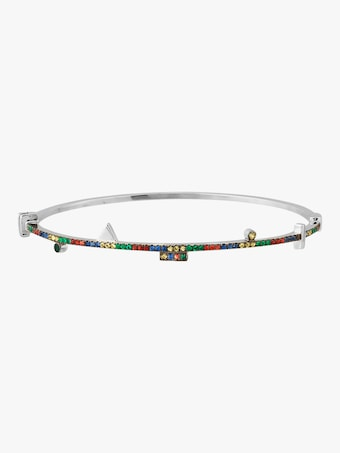 Harika Geometric Silver Bangle 2