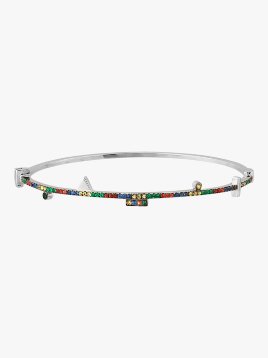 Harika Geometric Silver Bangle 0
