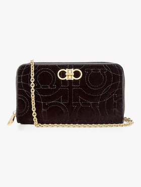 Gancino Quilted Velvet Chain Wallet Bag