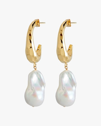 Joolz by Martha Calvo Baroque Pearl Hammered Hoop Earrings 1