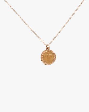 Cross Coin Pendant Necklace