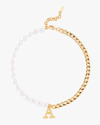 Pearl & Chain Initial Necklace