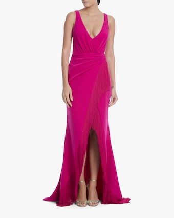 Surplice Tassel-Trim Gown