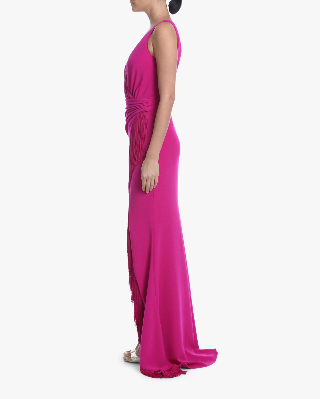 Badgley Mischka Surplice Tassel-Trim Gown 1