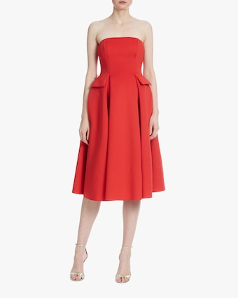 Belted Strapless Cocktail Dress