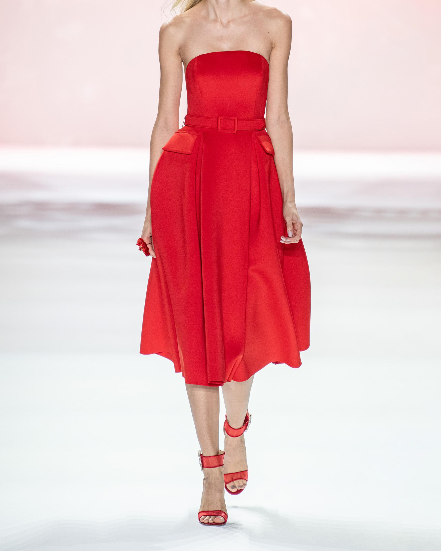 Badgley Mischka Belted Strapless Cocktail Dress 2