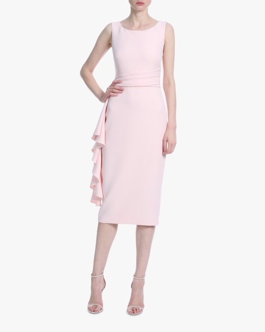 Badgley Mischka Ruffled Sheath Cocktail Dress 0
