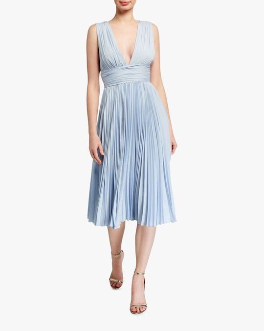 Badgley Mischka Pleated Cocktail Dress 0
