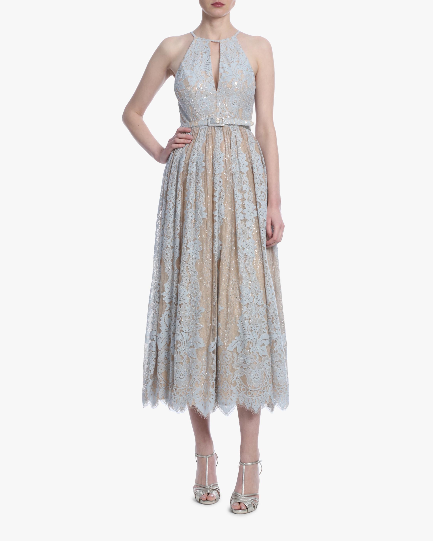 Badgley Mischka Lace Midi Cocktail Dress 0