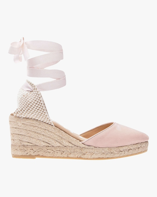 Manebi Pastel Rose Hampton's Lace-Up Wedge 0