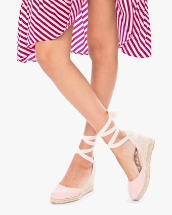 Manebi Pastel Rose Hampton's Lace-Up Wedge 2
